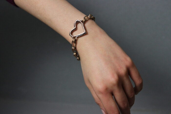 """""""Cuore Rinato"""" Bracciale artigianale donna in Bronzo o Argento 925, fatto a mano"""