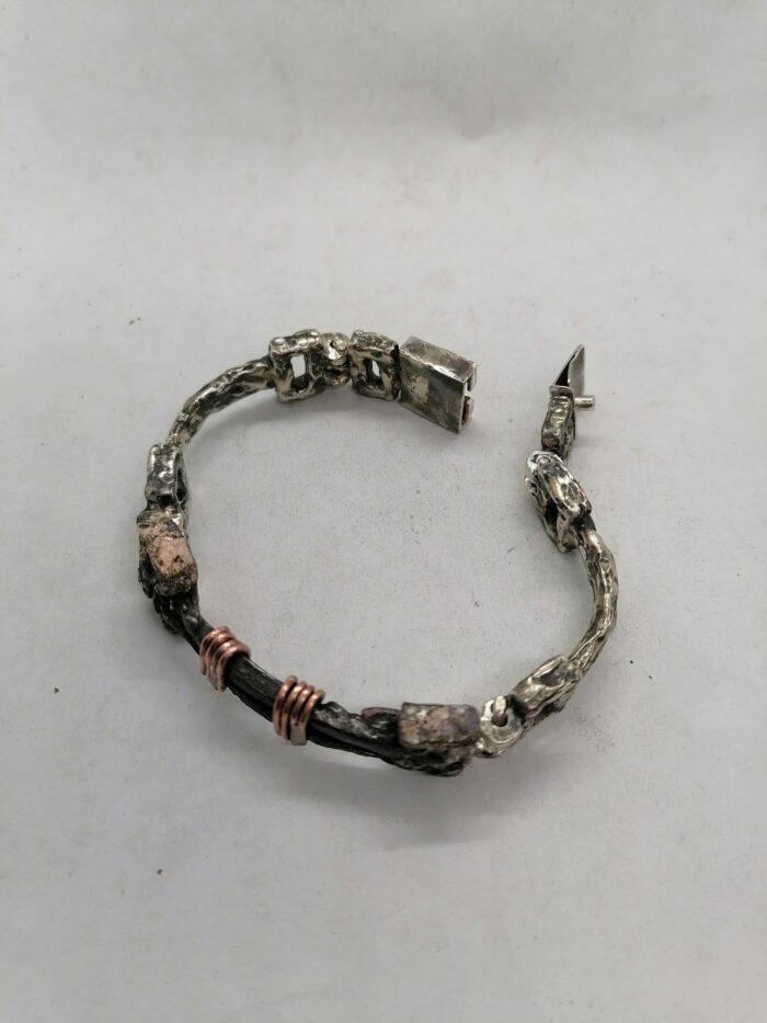 """""""Chiodi Antichi"""" Bracciale materico uomo artigianale fatto a mano in Argento 925 anticato con chiodi in ferro antichi e Rame"""