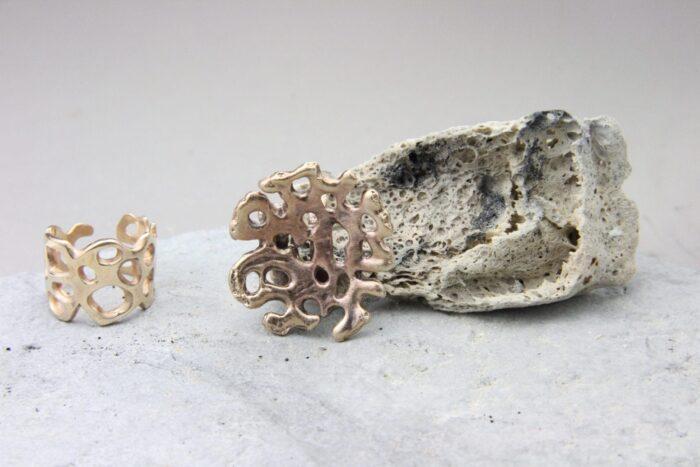 """""""Fluido"""" Anello artigianale donna in Bronzo o Argento 925, fatto a mano"""