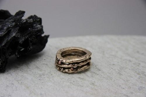 """""""Triade"""" Anello donna artigianale fatto a mano in Bronzo o Argento 925 con sfere di Rame"""