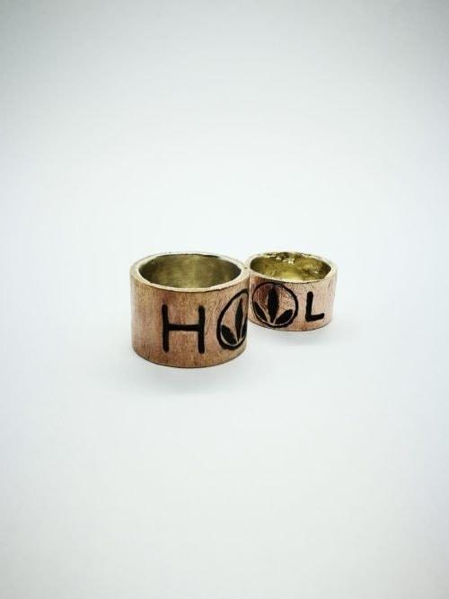 """""""HL1"""" Anello artigianale a fascia unisex in Bronzo, interno in Argento, fatto a mano"""